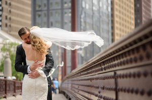 Bride and Groom on Wabash Ave Bridge