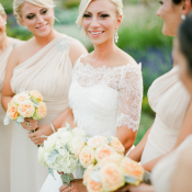 Bride in Lace Sleeve Gown