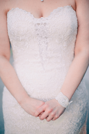 Bride in Lace Strapless Gown