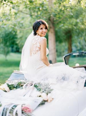 Bride in Vintage Getaway Car