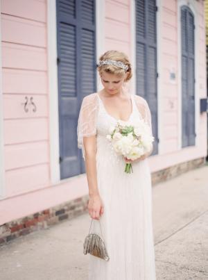 Bride with Vintage Silver Clutch