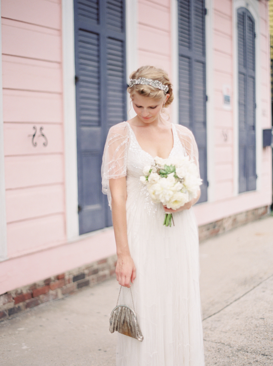 Bride with Vintage Silver Clutch