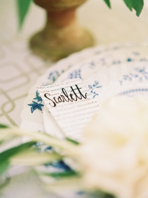 Calligraphy Place Card on Vintage Book Pages