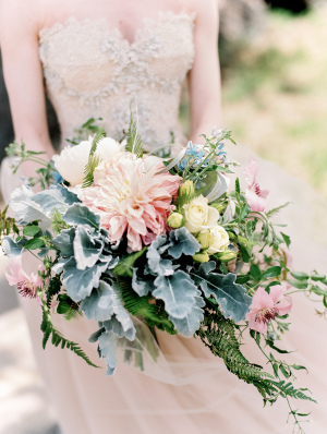Dahlia and Dusty Miller Bouquet