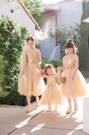 Flower Girls in Gold Fairy Dresses