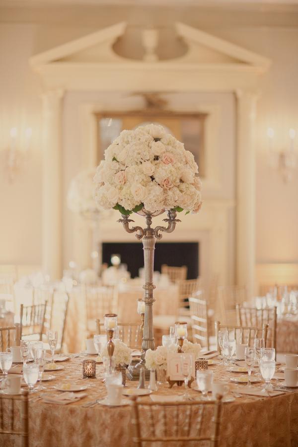 Ivory Rose Pedestal Centerpiece