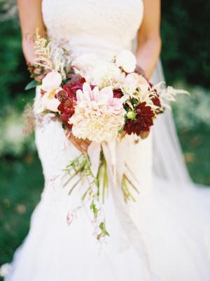 Ivory and Burgundy Dahlia Bouquet