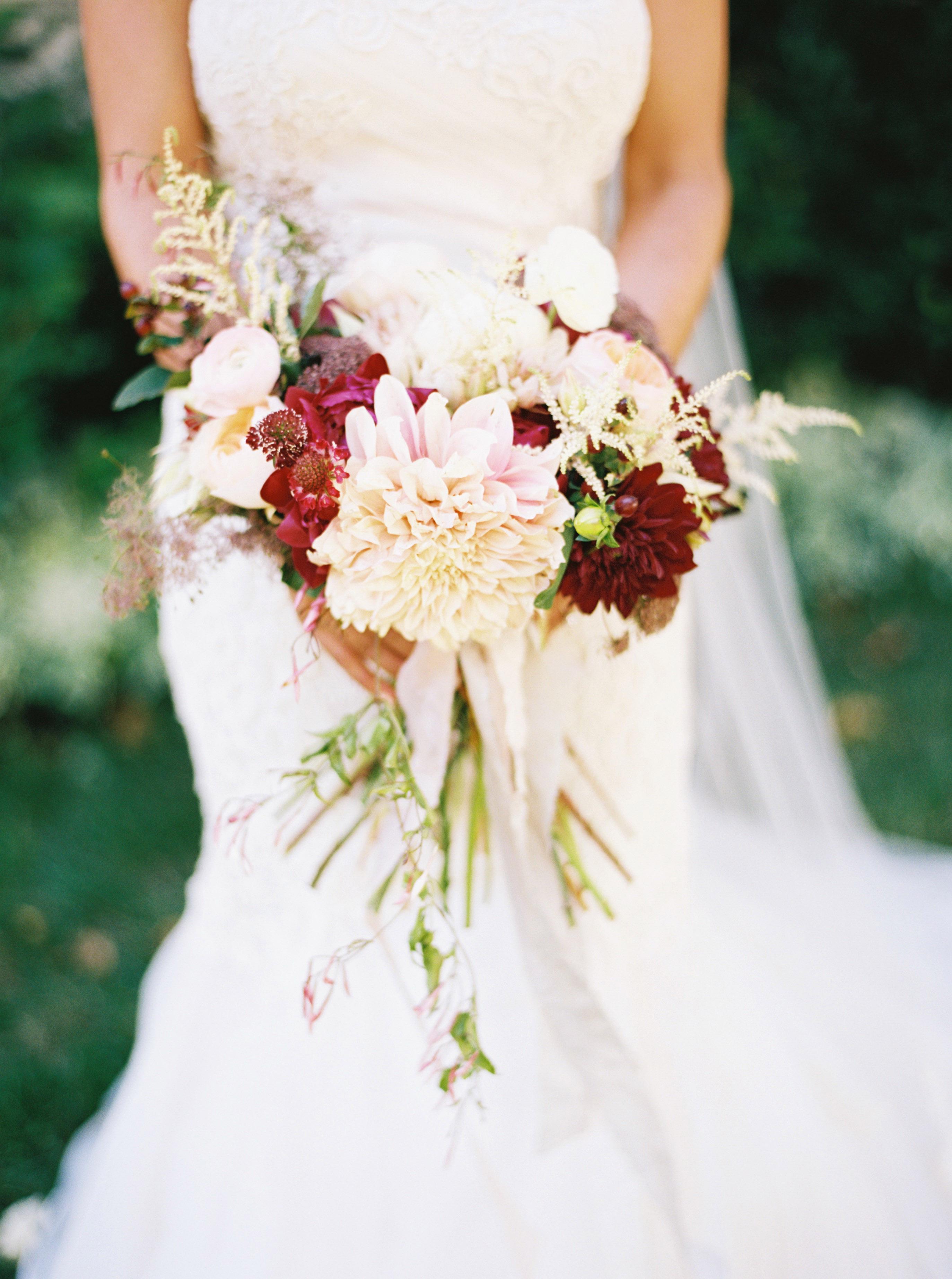 ivory and burgundy dahlia bouquet elizabeth anne designs