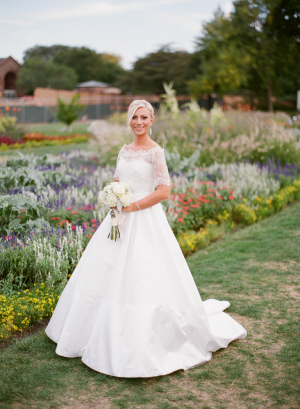 Lace Overlay on Bridal Gown