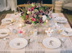 Mauve and Silver Wedding Table