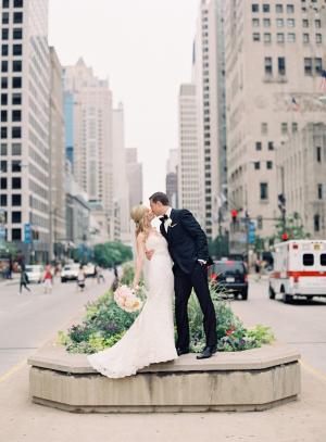 Michigan Avenue Bride and Groom