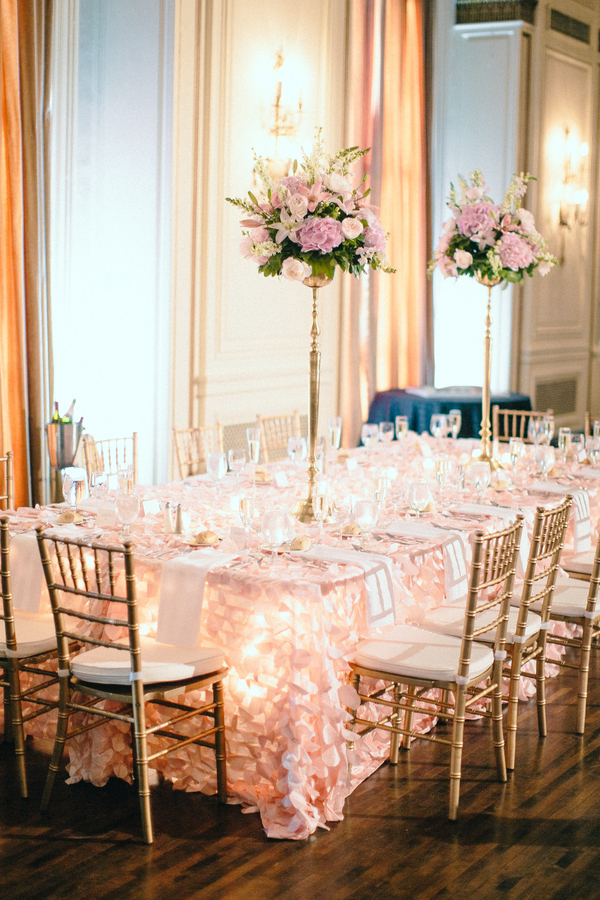 Pink and White Ballroom Wedding Table