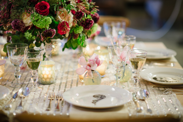 Purple Mauve and Silver Wedding Table