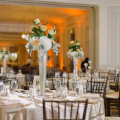Reception Flowers in Silver Trumpet Vases
