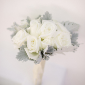 Rose and Dusty Miller Bouquet
