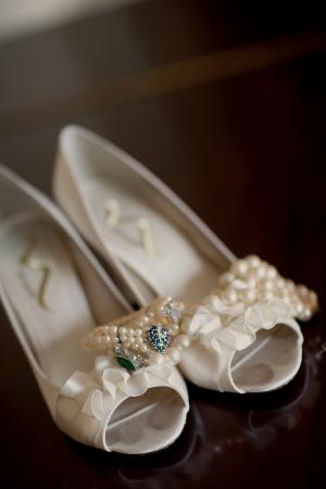 Ruffle Peep Toe Bridal Shoes