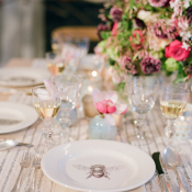 Silver and Mauve Table Setting