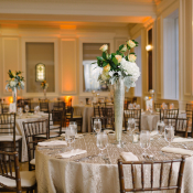 Taupe and Pale Yellow Reception Tables