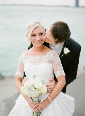 Wedding Portrait Against Chicago Skyline