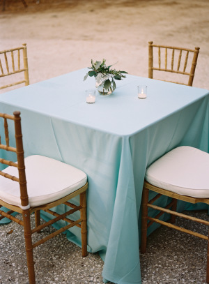 Aqua and Gold Cocktail Table