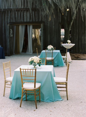 Aqua and Gold Wedding Cocktail Area