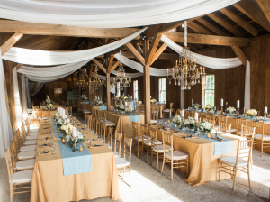 Barn Wedding with Chandelier