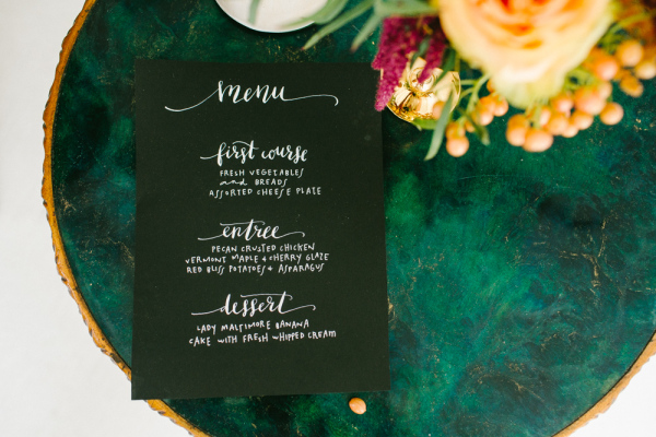 Black Menu with White Lettering