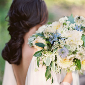Bouquet with Blue and Ivory Flowers