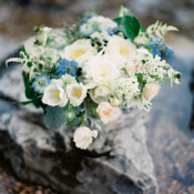 Bouquet with Ivory and Blue Flowers