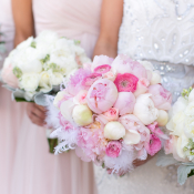 Bouquet with Peonies and Feathers