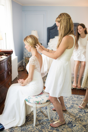 Bride Getting Ready in Lela Rose Gown