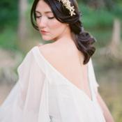 Bride in Deep V Neck Back Gown