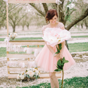 Bride in Pink Sparkly Dress