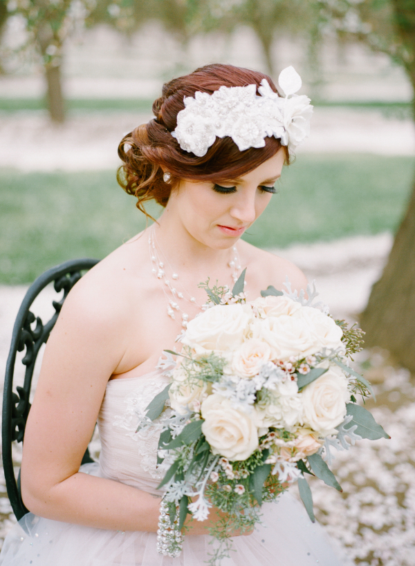 Bride in Vintage Headpiece