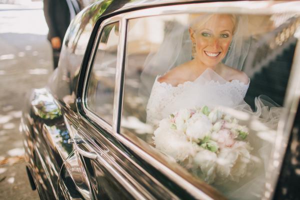 Bride in Vintage Limo