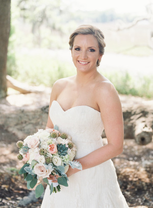 Bride with Blush and Green Bouquet