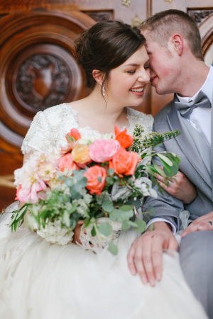Bride with Coral and Pink Bouquet