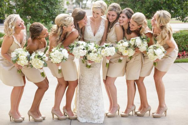 Bridesmaids In Champagne J Crew Dresses