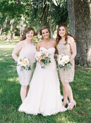 Bridesmaids in Pale Gold