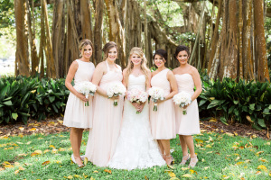 Bridesmaids in Pale Pink Dresses