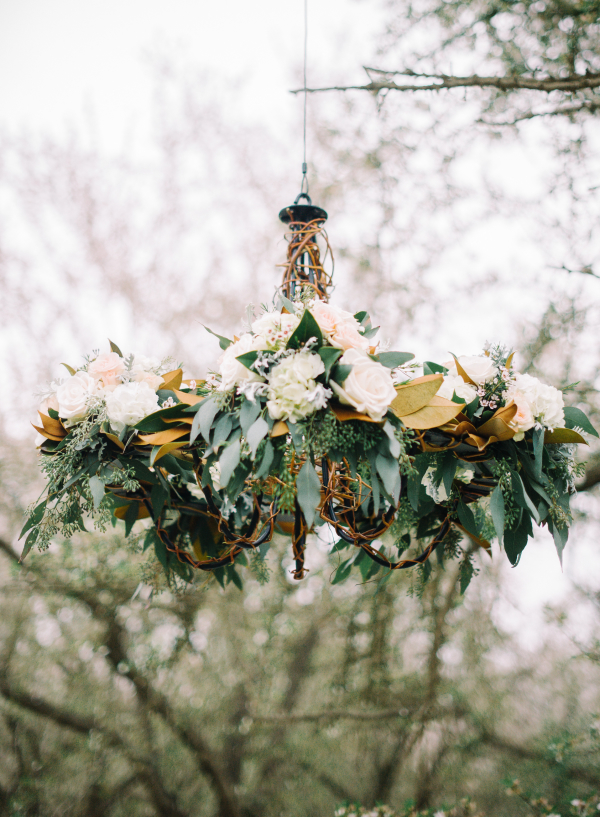 Chandelier with Greenery and Flowers
