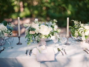 Dusty Blue and Green Centerpiece