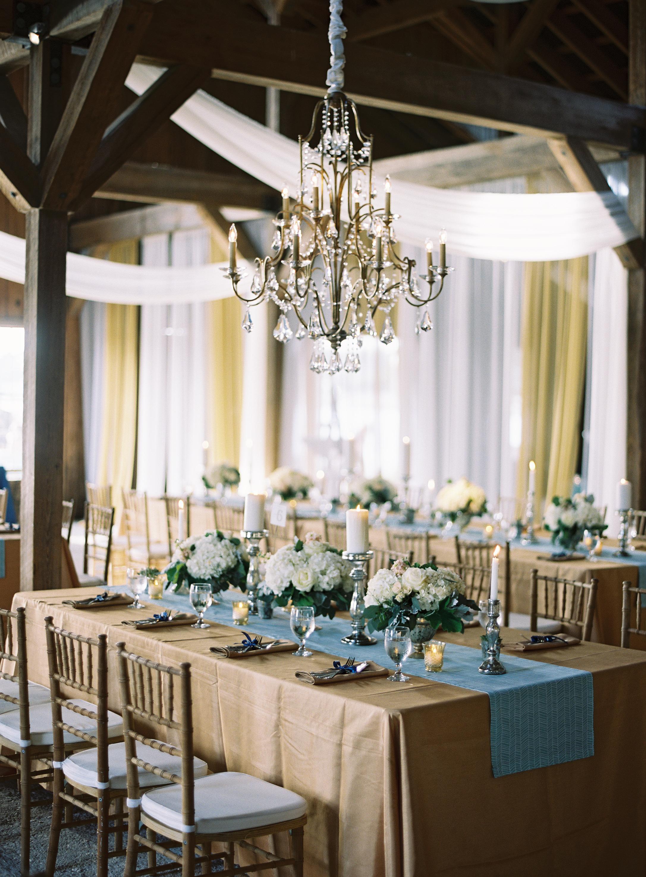 Elegant Blue and Gold Barn Wedding
