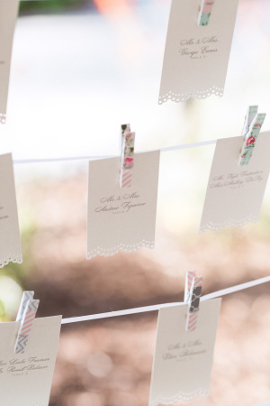 Escort Cards on Clothespins