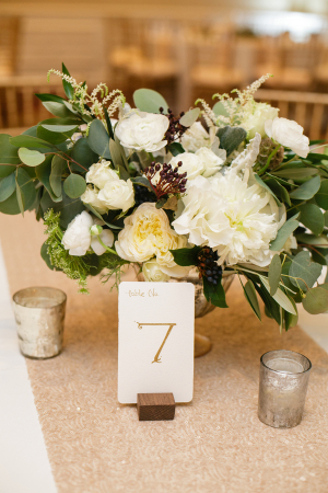 Gold Ivory and Green Centerpiece