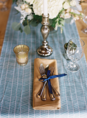 Gold and Blue Place Setting