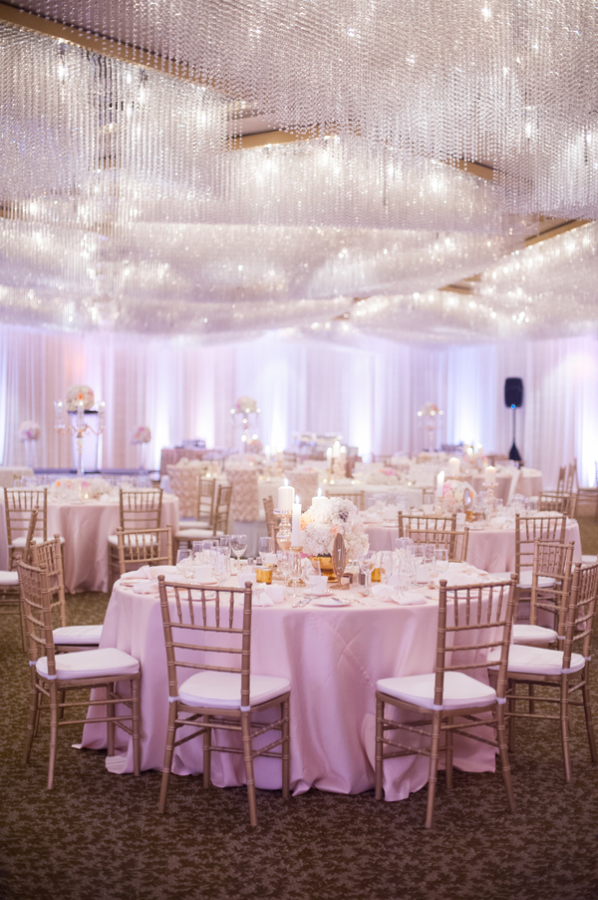 Gold and Pink Ballroom Reception