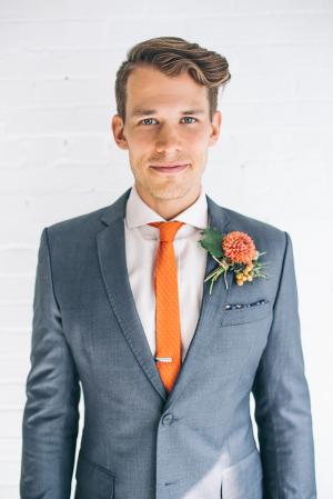Groom in Orange Tie