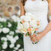 Ivory and Peach Bridal Bouquet