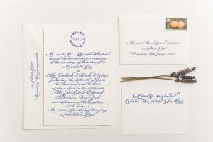 Navy Calligraphy Wedding Invitations